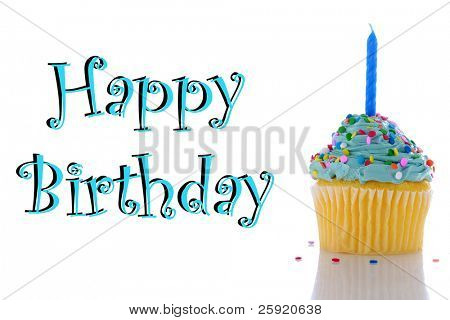 "ein Cupcake mit blaue Glasur, besprengt und eine Kerze. isolated on White with ""happy Birthday"""