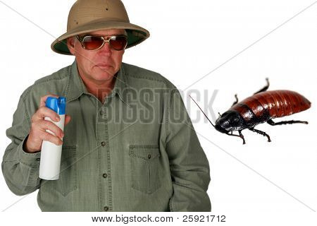 """a man in a pith helmet sprays Bug Spray towards a giant cockroach with """"dont bug me"""" text isolated on white with room for your text or images (text can easily be removed and replaced by your own)"""
