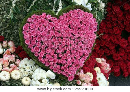 red and pink roses in a heart shape representing love and valentines day isolated on white