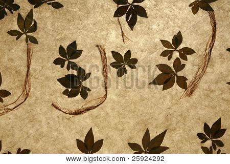 beautiful custom hand made rice paper with leaves and fibers of different shapes sizes and textures