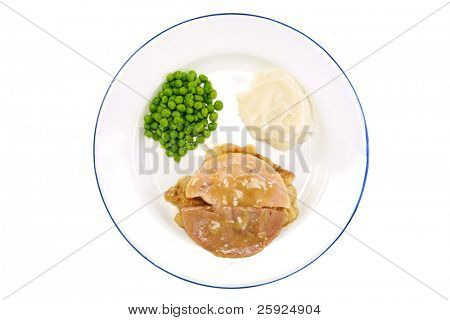 A classic TV Dinner on a white plate with a blue edge, consisting of Turkey, Stuffing, Gravy, Green Peas, and Mashed Potatoes. isolated on white with room for your text
