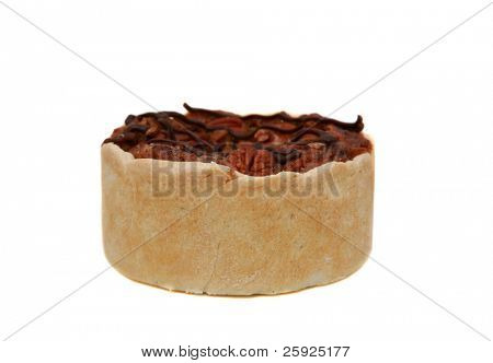 a delicious pecan tart aka pecan pie isolated on white with room for your text