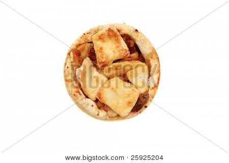 A Delicious Apple and Cranberry Tart isolated on white with room for your text