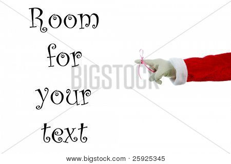 """A Santa Claus arm with a red bow on the index finger to remind everyone """"Don't Forget"""" December 24th is Christmas Eve.  Isolated on white with room for your text or images"""