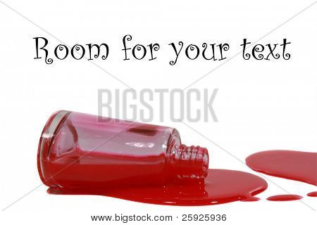 spilled red finger nail polish bottle with heart shaped splatters isolated on white background with room for your text