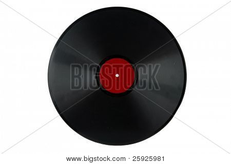 a antique 78 rpm vinyl record album with a red label isolated on white with room for your text