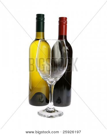 a wine glass with a bottle of red and white wine isolated on white with room for your text