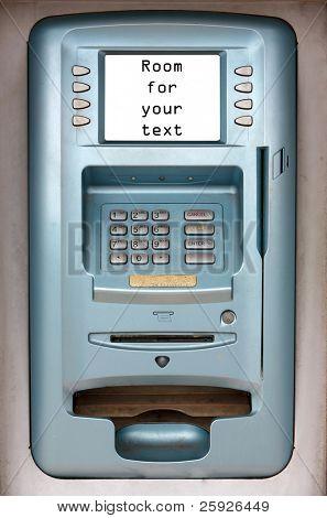 """ATM """"Automatic Teller Machine"""" isolated on White mit Platz für Ihren text"""