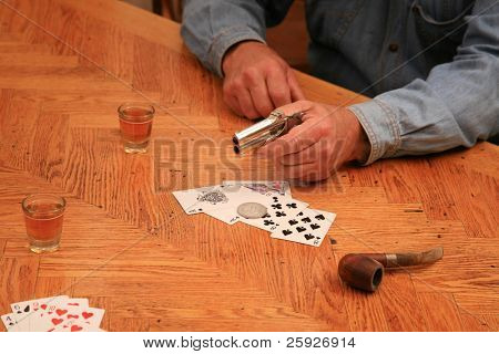 """We dont think too highly of Card Cheats in this town"" said the cowboy as he pulls out his 1887 double derringer pistol and points it at the ""polecat"" whos been Cheatin at cards all night"