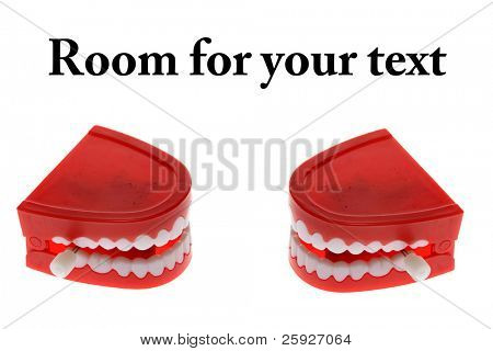 funny wind up chattering teeth, isolated on white with room for your text