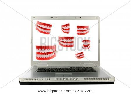 joke chattering teeth isolated on white on a computer monitor, represent on line humor, searching for a new dentist, on line chat rooms, forums, instant messages, email, and other concepts