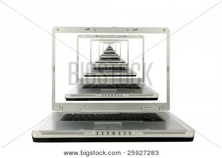 generic laptop computer with mirror reflections a laptop computer repeated to infinity in the computer monitor screen, represents e-mail contacts, on line connections, infinity, space, and time