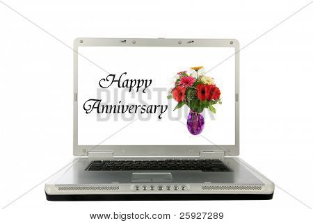 "generic laptop computer with a vase of flowers and ""Happy Anniversery"" text on the screen, represents on line flower sales, e-cards, e mail messages, love, marrage and more"