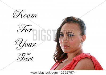 A beautiful african american woman looks concerned at something her photographer says to her during her Hair Style / Makeup / Fashion photo shoot. Isolated on white with room for your text.