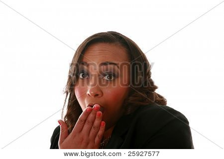 A beautiful african american woman is SHOCKED at something she sees. Isolated on white with room for your text
