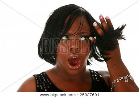 A beautiful african american woman is upset with her latest hair style. isolated on white with room for your text.