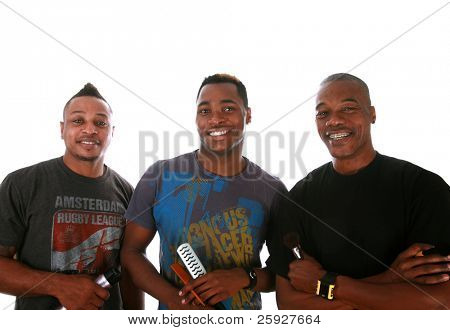 three african american professional cosmetologist pose together forming a trio of professionals for a Beauty / Fashion / Hair Style / Makeup photo shoot. Isolated on white with room for your text.