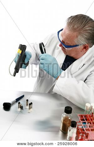 forensic analysis - a Forensics Examiner or Lab Technician checks a gun for evidence of a crime, looking for finger prints, blood splatter, DNA, and other trace elements