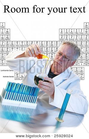 Scientific concept--Scientist holding a mixes chemicals in a beaker with liquid over a scientific background of the periodic tables of chemistry with room for your text.