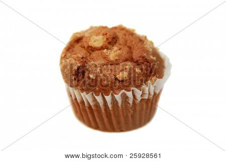 A healthy sugar free, gluten free apple muffin on a blue background