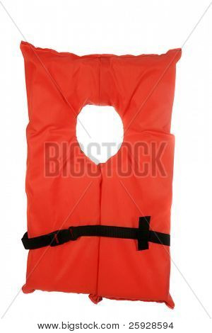 a safety orange vintage style life jacket. isolated on white with room for your text