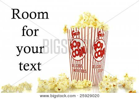 Popped kernels of pop corn snack isolated on white background with room for your text