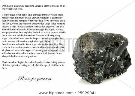 volcanic glass (rock) black obsidian isolated on white with room for your text