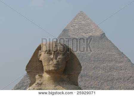 Sphinx and the Pyramid of Chephren in Giza near Cairo, Egypt