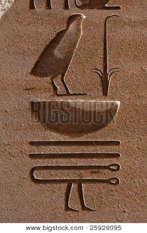 Egyptian Hieroglyphs on an obelisk in the Temple of Amun in Karnak near Luxor (Thebes), Egypt
