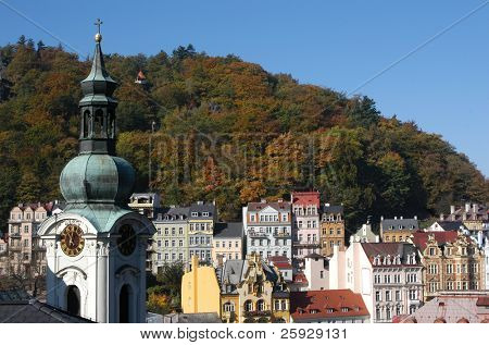 Famous spa resort Karlovy Vary aka Karlsbad in the Czech Republic