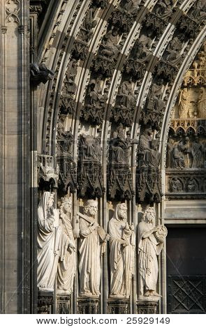 Cologne Cathedral, Germany. The lower row of statues from left to right: Prophet Moses, King David, Prophet Elijah, Noah and St John The Baptist.