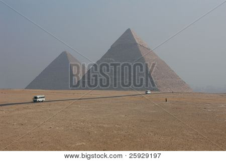Pyramids of Chephren (right) and Cheops (left) in Giza near Cairo, Egypt