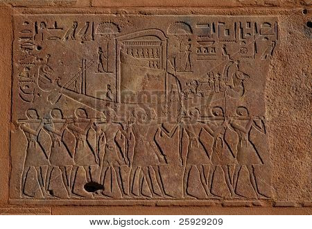 Egyptian funeral boat, relief from Hatshepsut's Red Chapel in Karnak Temple near Luxor, Egypt