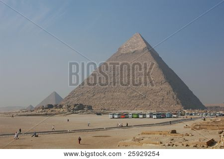 Pyramids of Mycerinus (left) and Chephren (right) in Giza near Cairo, Egypt