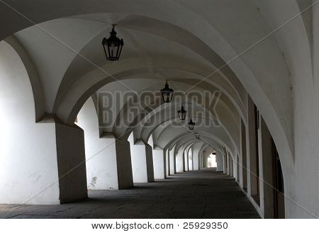 Gothic arcade on the main square of Kromeriz in Moravia, Czech Republic
