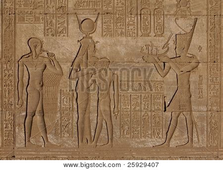 Egyptian carving from Ptolemaic period on the Roman Birth House in Dendara, Egypt