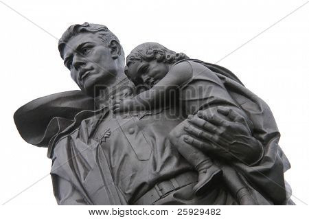 Huge statue of a Russian soldier holding a German girl at the heart of the Soviet War Memorial in Treptower Park in Berlin, Germany