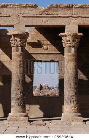 West Colonnade of the Temple of Isis on the Philae Island near Aswan, Egypt