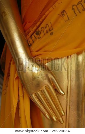 Gilded hand of Buddha from the temple of Nakhon Pathom, Thailand