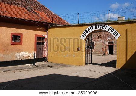 Gate of a nazi police prison in Terezin, Czech Republic, with a nazi slogan ?Arbeit Macht Frei?.