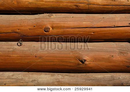Wooden wall from logs of a traditional Czech house