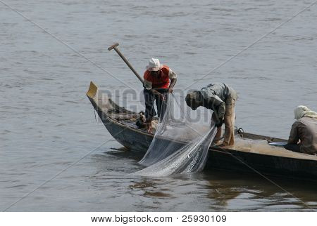 Fishermen at the Mekong River near Phnom Penh, Cambodia