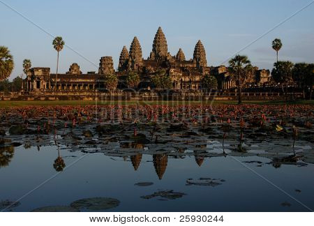 Angkor Wat, the most famous Khmer temple, near Siem Reap, Cambodia, at sunset.