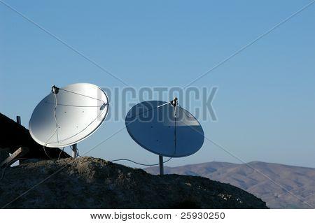 Two dish antennas in the mountains in Cappadocia, Turkey.