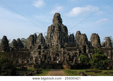 Famous Bayon Temple in the Angkor Area near Siem Reap, Cambodia.