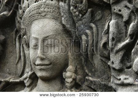 Apsara dancer from the bas-relief of Bayon Temple in the Angkor Area near Siem Reap, Cambodia.