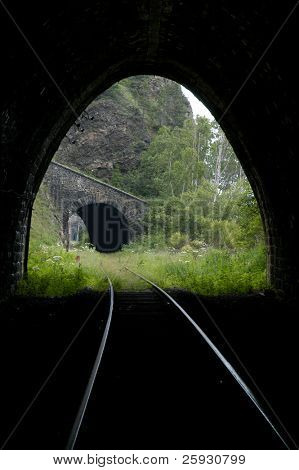 Old railroad tunnels of the Circum-Baikal Road, the historical part of Trans-Siberian railway, near Lake Baikal, Russia