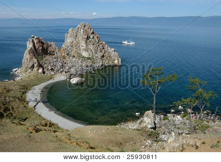 Burkhan Cape, one of the six most sacred places in Asia, on Olkhon Island on Lake Baikal in Siberia, Russia