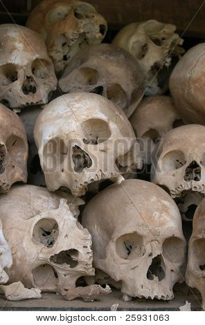 Skulls from a mass grave of Khmer Rouge victims in Choeung Ek aka the Killing Fields near Phnom Penh, Cambodia.