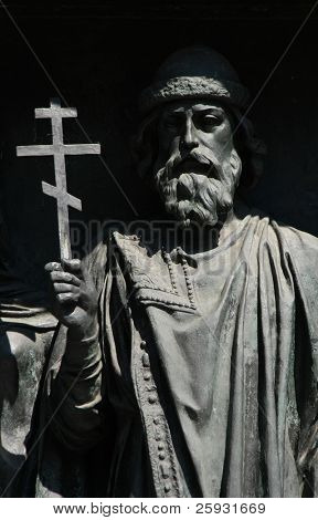Russian prince Vladimir the Saint. Detail of the Monument to the Millennium of Russia from 1864 in Veliky Novgorod, Russia